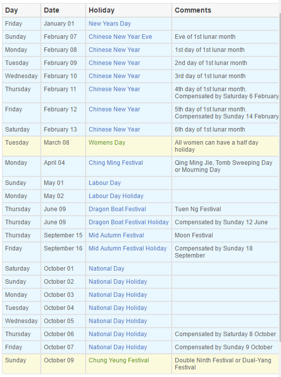 National holidays in china