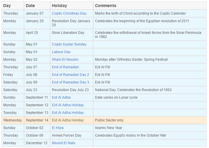 national holidays in Egypt