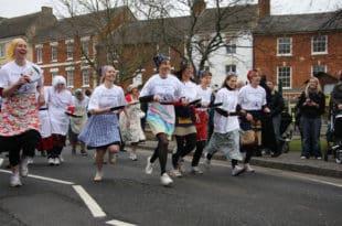 English Pancake Race Shrove Tuesday february ,march